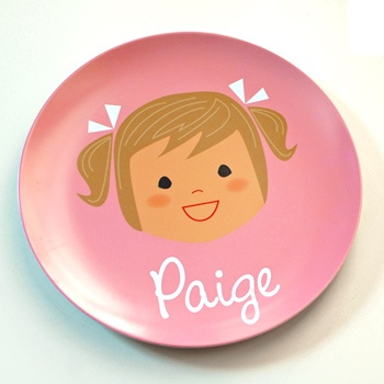 personalized plate-pick a color and choose from options to create a design that resembles your daughter or son!  So cute.