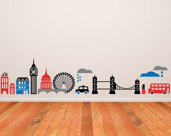 pinterest london bridge 27 wall stickers mural city buildings room
