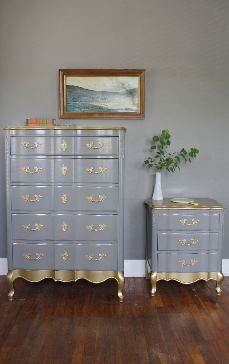 gold detail french provincial bedroom set via etsy