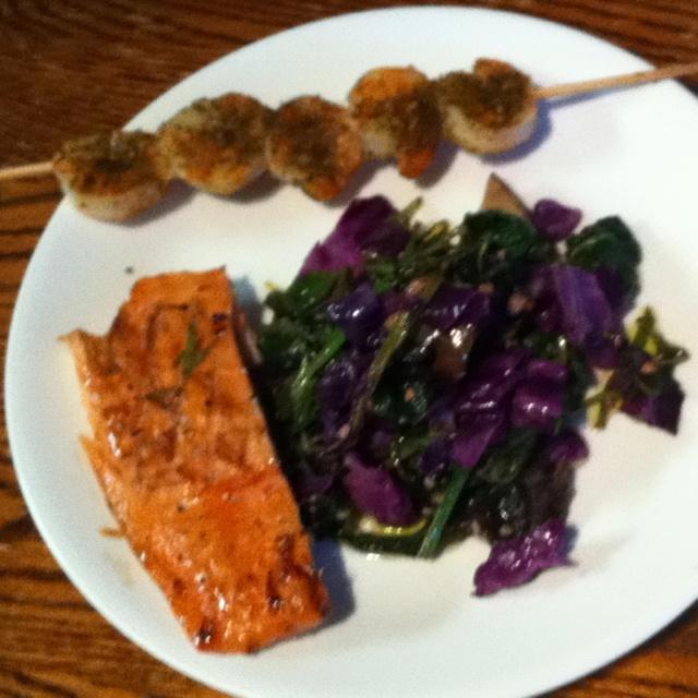 . Grilled Shrimp with citrus rub . Spinach cabbage mushroom garlic ...