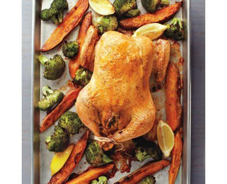 Stuffed Chicken with Roasted Broccoli and Sweet Potatoes Recipe | Food ...