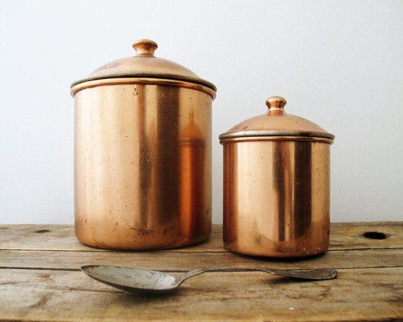 Vintage Kitchen Canisters Copper Rustic Kitchen Decor