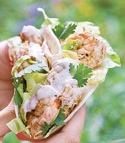 Lindaraxa: Shrimp tacos with grilled corn salsa and southwest cream sauce