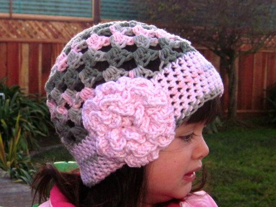 Girls crochet hat in green and pink, crochet beanie - pink ...
