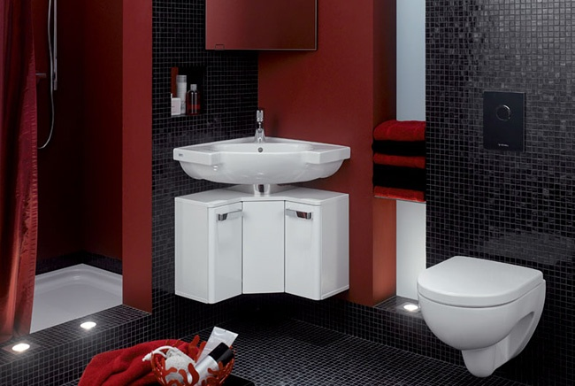Very Modern Black Red And White Bathroom For The Home