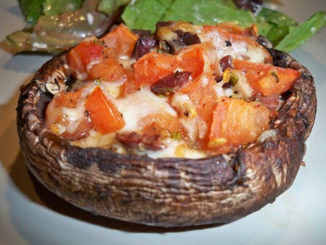 Tomato and olive stuffed mushrooms #Recipe