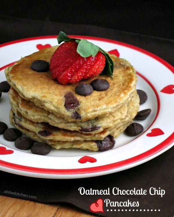 Oatmeal Chocolate Chip Pancakes   alidaskitchen.com #recipes # ...