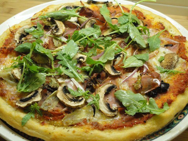 Semolina pizza dough, prosciutto, black olive tapenade, mushrooms ...