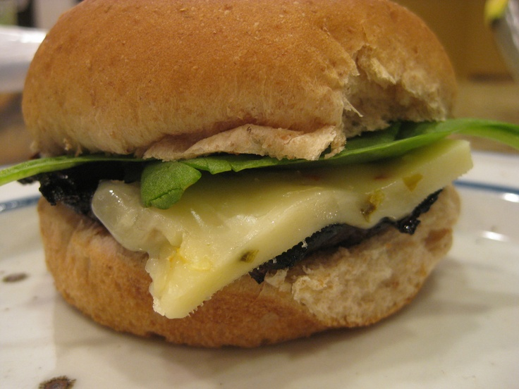 ... portabella mushroom burger with spinach and spicy pepper jack cheese