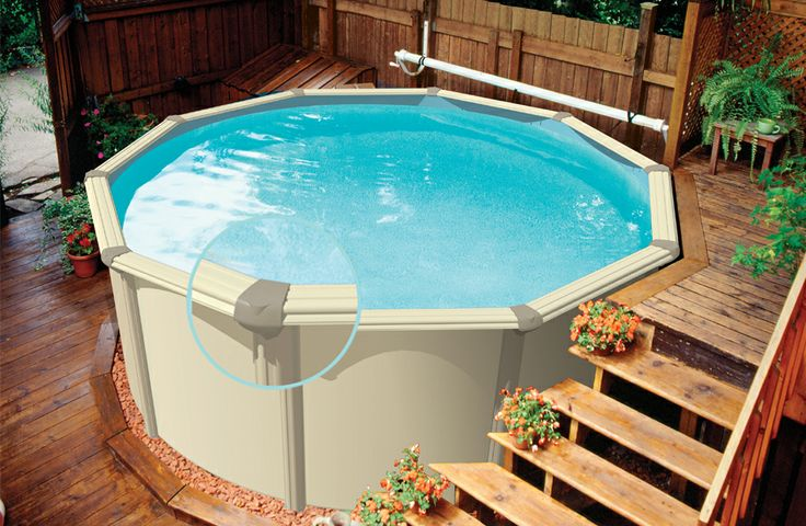 Oval above ground 919 600 pool stuff pinterest for Above ground pool decks for small yards