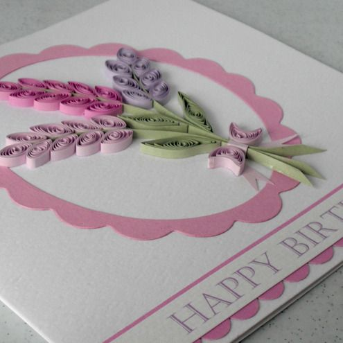 Quilled lavender happy birthday card - Folksy