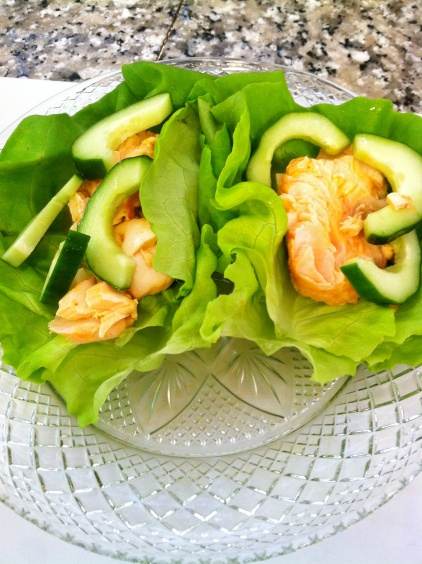 Chinese Salmon Lettuce Wraps with Quick-Pickled Cucumbers   Never Not ...