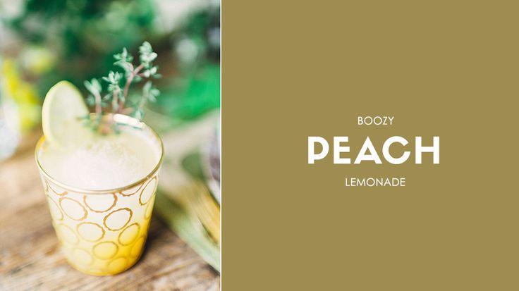 Boozy Peach Lemonade // cocktails, weddings, drinks, recipes