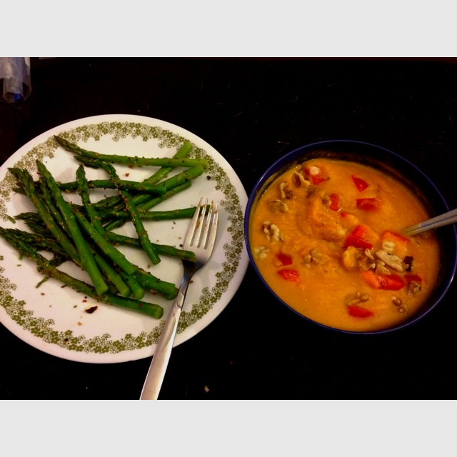 Day 9 dinner. Roasted Red Pepper and Sweet Potato soup. Side of ...