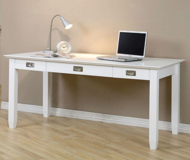 Contemporary White Wood Finish 2 Drawer Keyboard Shelf