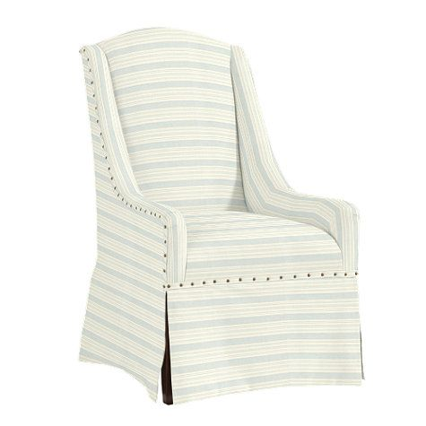 Cortina Chair In Wyndham Stripe Mineral By Ballard Designs I