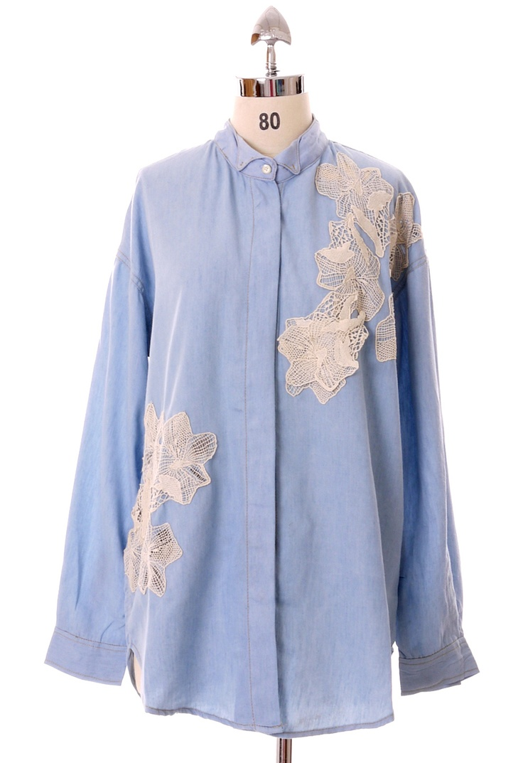 White flower lace embroidery denim shirt chicwish list
