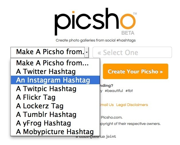 Curate Image Collections from Social Hashtags with Picsho