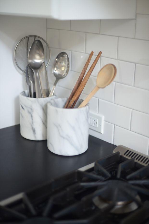 Marble utensil holders home pinterest for Kitchen utensil holder