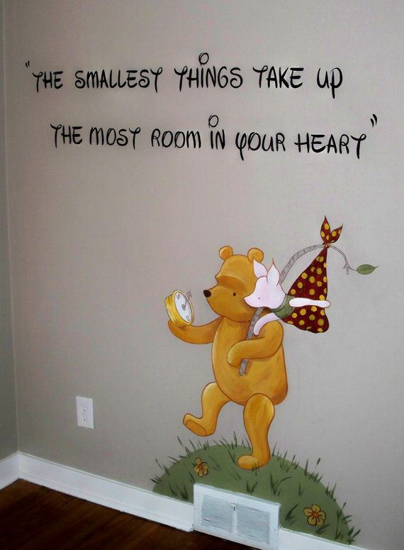 classic winnie the pooh nursery mural please read description