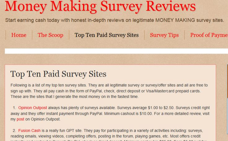 My top ten paid survey sites. They are all legitimate survey sites and ...