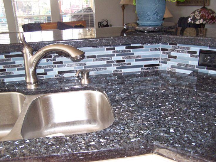 Blue Pearl Granite with matching backsplash  Alyssa's Favorites! )