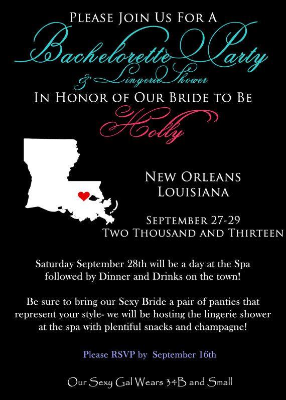Bachelorette Party Invite, New Orleans, Bridal Shower, Lingerie Shower