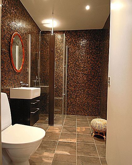 Bathroom ideas love the rust color room for happiness for Bathroom tiles designs and colors