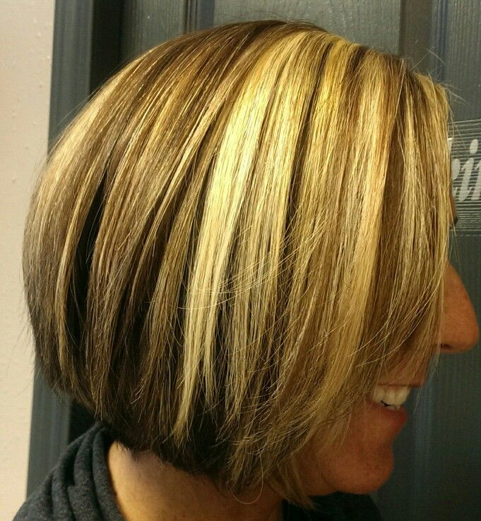 Bold blonde highlights on aline bob | Hair I've done | Pinterest