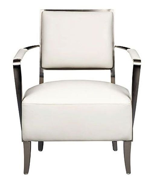 Padded white leather + brushed stainless steel for a #modern #simplistic look! Great accent chair for home staging. || Oscar Chair furniture.cort.com