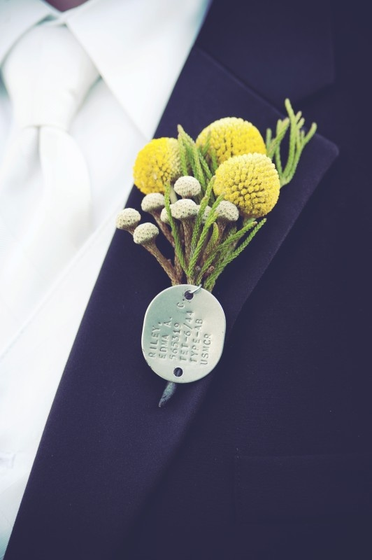 Yellow and Gray Wedding | Groom's Boutonniere