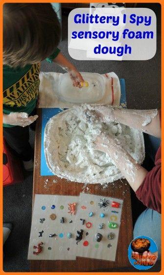 Glittery i spy sensory foam dough family fun and games in door