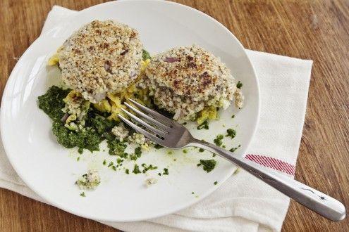 Naturally Ella | Quinoa Patties with Eggs and Spinach Pesto ...