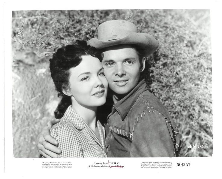 Actress Wanda Hendrix married actor and most decorated war hero Audie Murphy ~  it was reportedly a very unhappy marriage lasting less than a year due to his flashbacks secondary to war trauma. ~ picture at http://fan.tcm.com/_Audie-Murphy-and-Wanda-Hendrix-in-Sierra/photo/13168520/66470.html