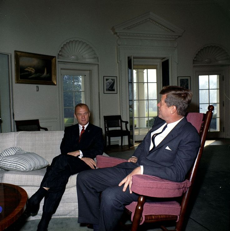 John F. Kennedy (in rocking chair) meets with astronaut Colonel John ...