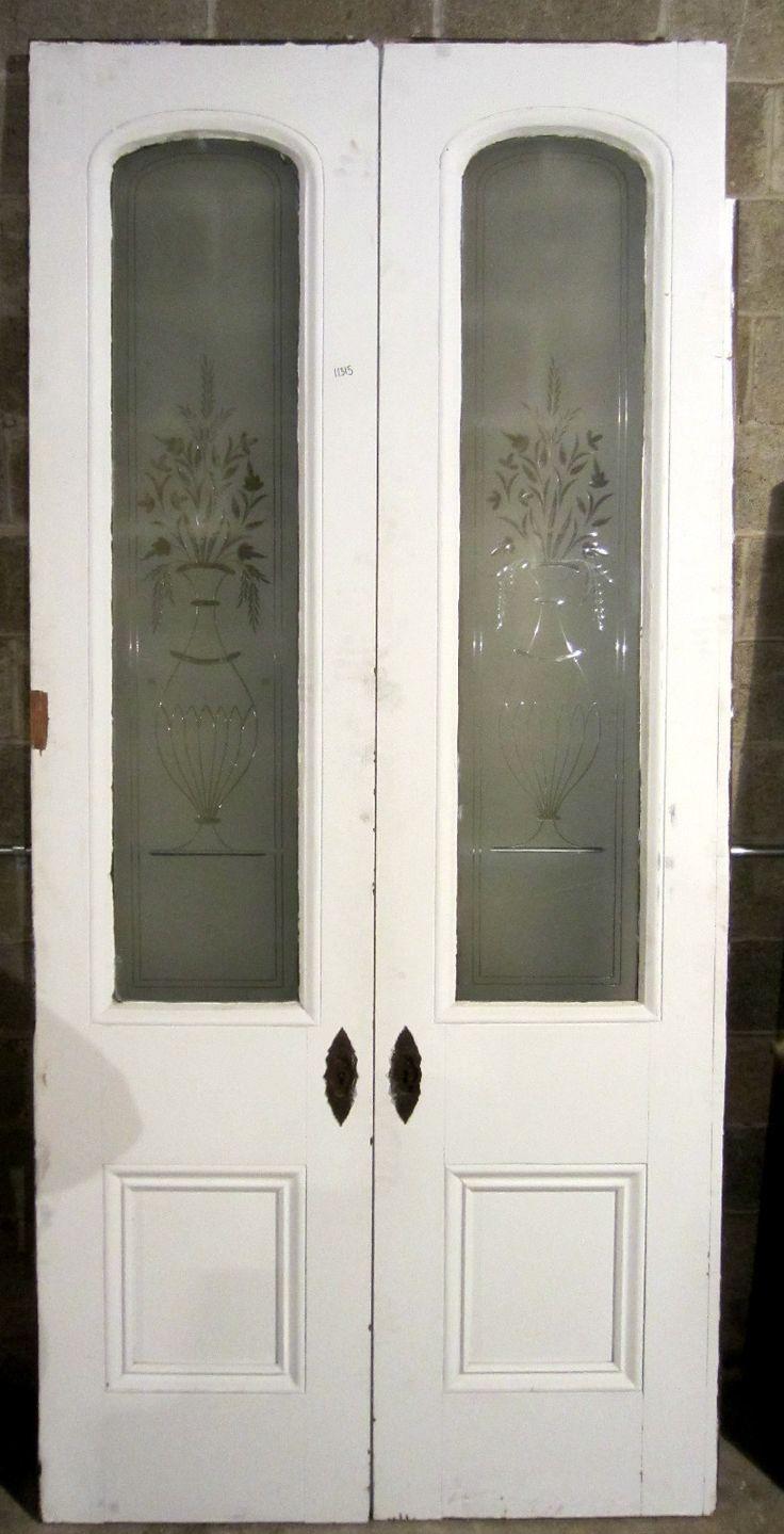 Great set antique pocket doors etched glass panels for Old glass doors