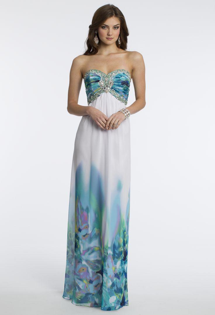 Camille La Vie Strapless Chiffon Print Grecian Style Prom Dress