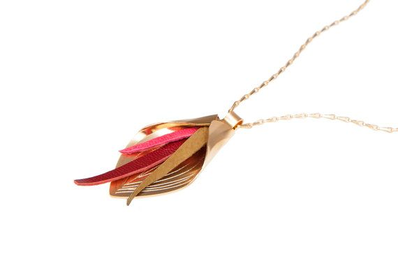 Calla lily flower necklace gold and leather long necklace flower pe