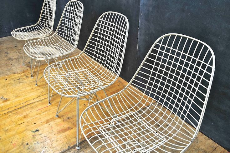 Eames nylon white dkr wire chairs 20th century vintage industrial
