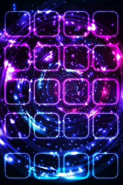 Neon app shelves iPhone wallpaper