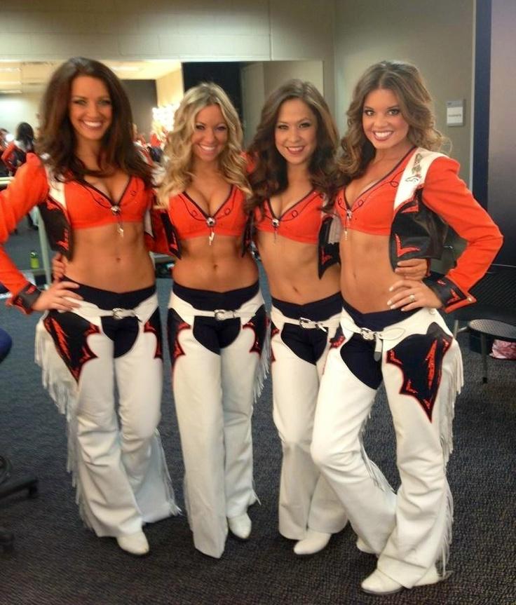 NFL Denver Broncos Cheerleaders wearing leather chaps.