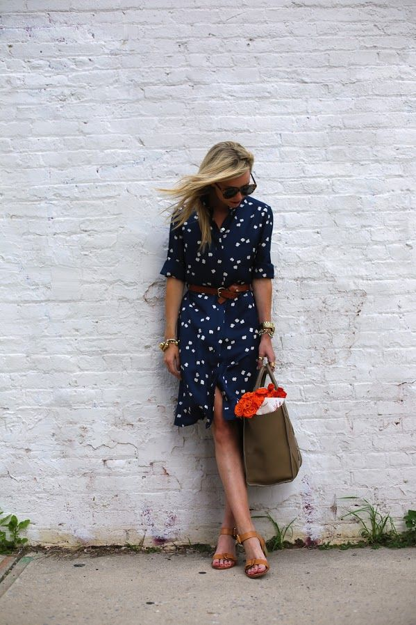 navy and tangerine: blue print dress by Iris and Ink, belt, sandals and Celine bag.