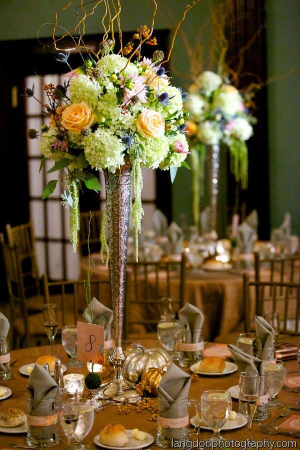Green tall centerpieces floral design