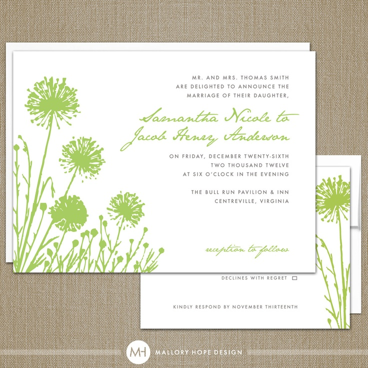 dandelion modern wedding invitation rsvp suite diy printable