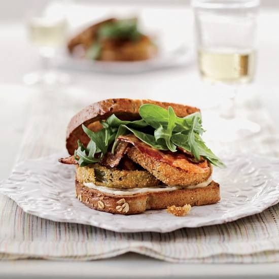 Fried Green tomato BLT. Yummy! Toast and butter bread, dip thinly ...