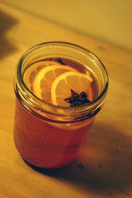 Healthy Hot Toddy: 1 1/2 ounces of brandy, scotch, or bourbon 7 ounces ...