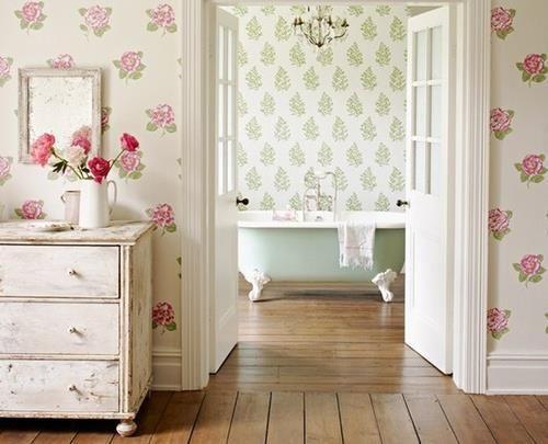 Love the wallpaper for Girls' Bath