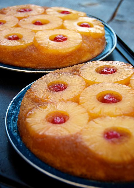 Pineapple Upside-Down Cakes: cast iron skillet