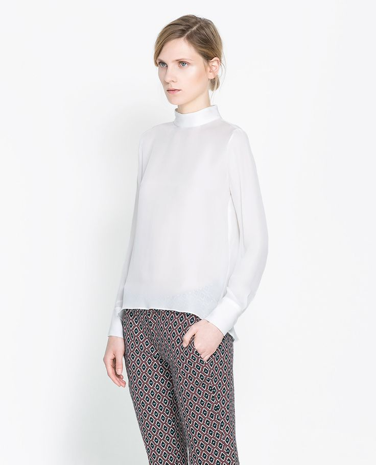 Zara High Neck Silk Blouse 51