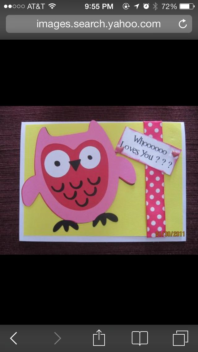 owl valentine's day card